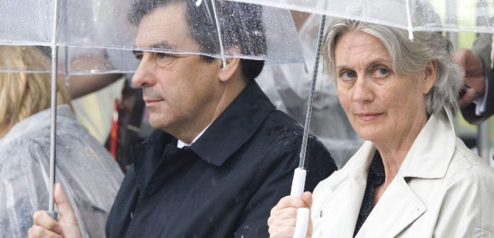French Prime Minister Francois Fillon and his wife Penelope Fillon during the salute to Samuel de Champlain in Quebec City, as it celebrates its founding and also 400 years of French-speaking peoples in North America, July 3, 2008 in Quebec City, Canada. Samuel de Champlain, the French explorer who in the spring of 1608 crossed the North Atlantic Ocean and headed up the Saint Lawrence River to establish the city with 30 other men. AFP PHOTO/ ROGERIO BARBOSA / AFP PHOTO / ROGERIO BARBOSA